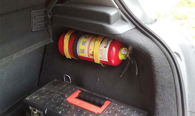 нахождение огнетушителя для авто